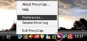 O ícone do ProxyCap é o Ícone em destaque na imagem